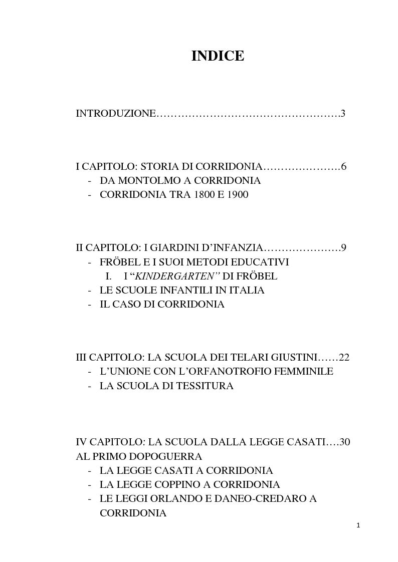 Indice della tesi: Istituzioni educative e assistenziali a Corridonia tra Otto e Novecento, Pagina 1