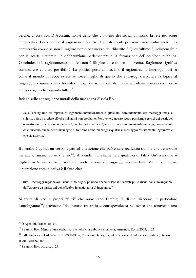 Estratto dalla tesi: Tecniche linguistiche e argomentative per diffondere il falso. Come Berlusconi ha plasmato mondi fittizi usando la retorica.