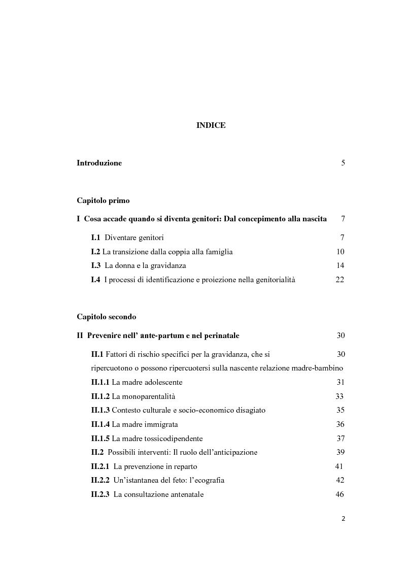 Indice della tesi: Prevenire ed Intervenire in Presenza del Rischio Evolutivo, Pagina 1