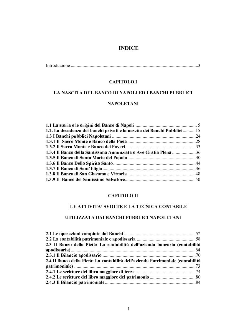 Indice della tesi: Le origini, le attività e la contabilità dei Banchi Pubblici Napoletani, Pagina 1
