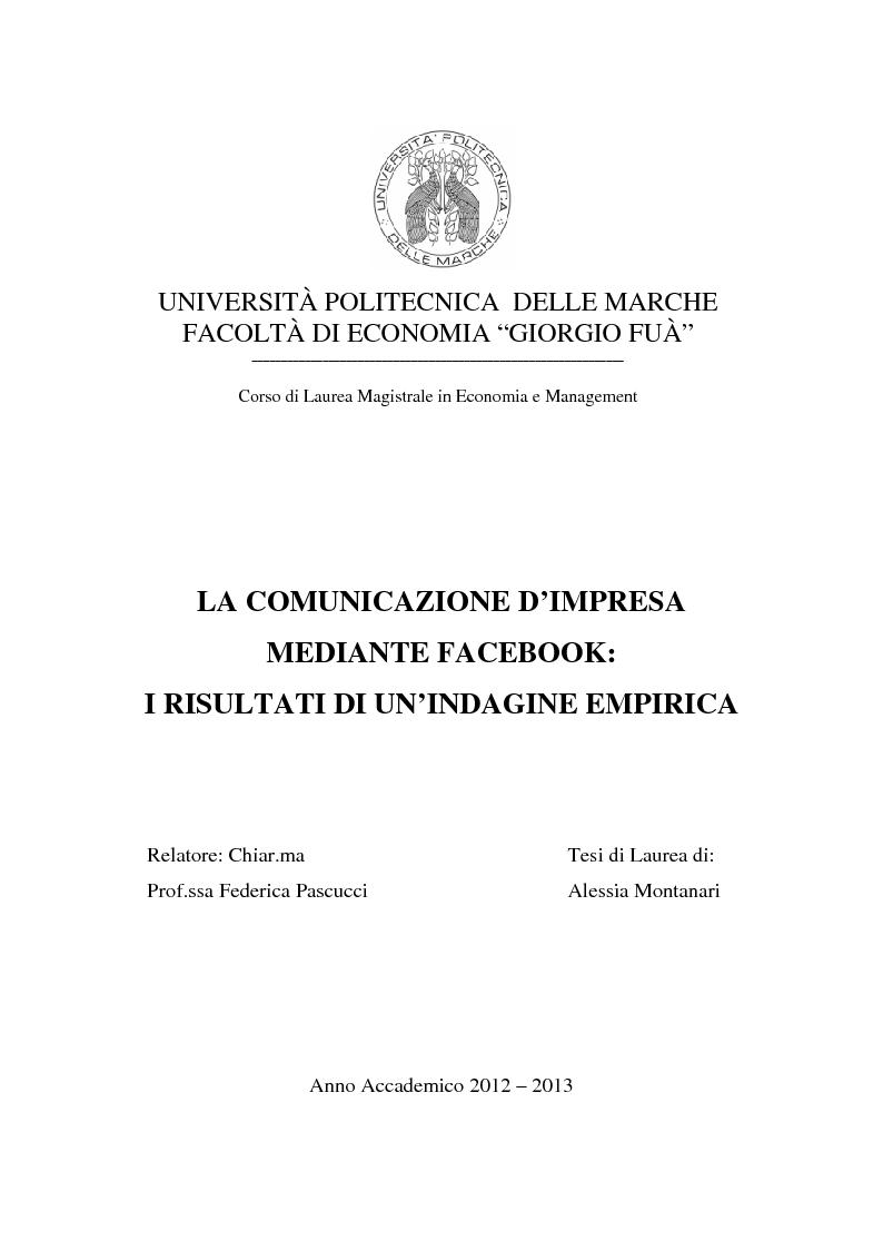 Anteprima della tesi: La comunicazione d'impresa mediante Facebook: I risultati di un'indagine empirica, Pagina 1