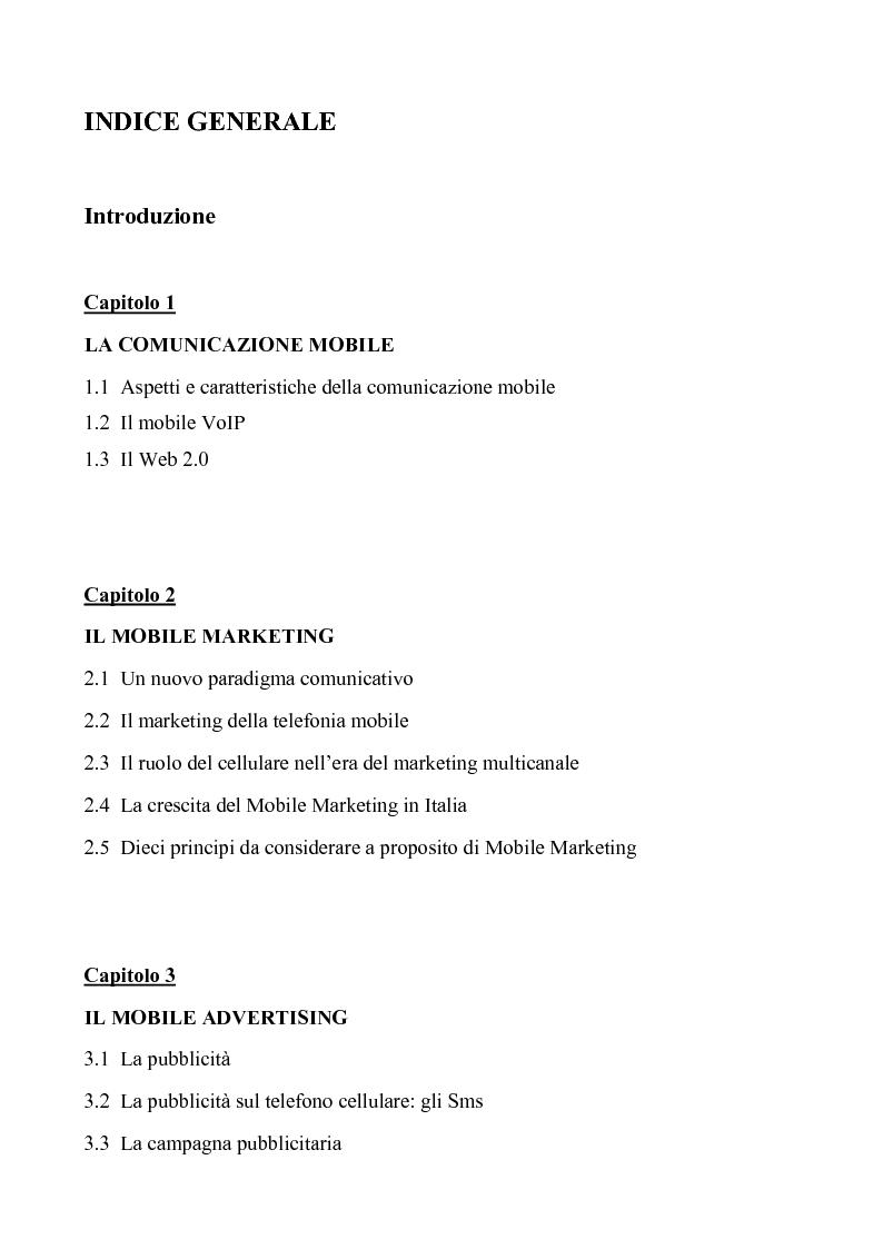 Indice della tesi: Il Mobile Marketing e il successo della telefonia cellulare: caso Nokia, Pagina 1