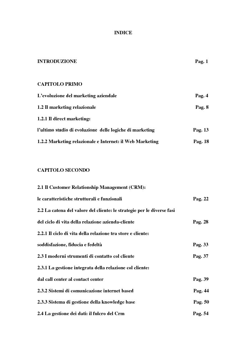 Indice della tesi: Customer Relationship Management (CRM), Pagina 1