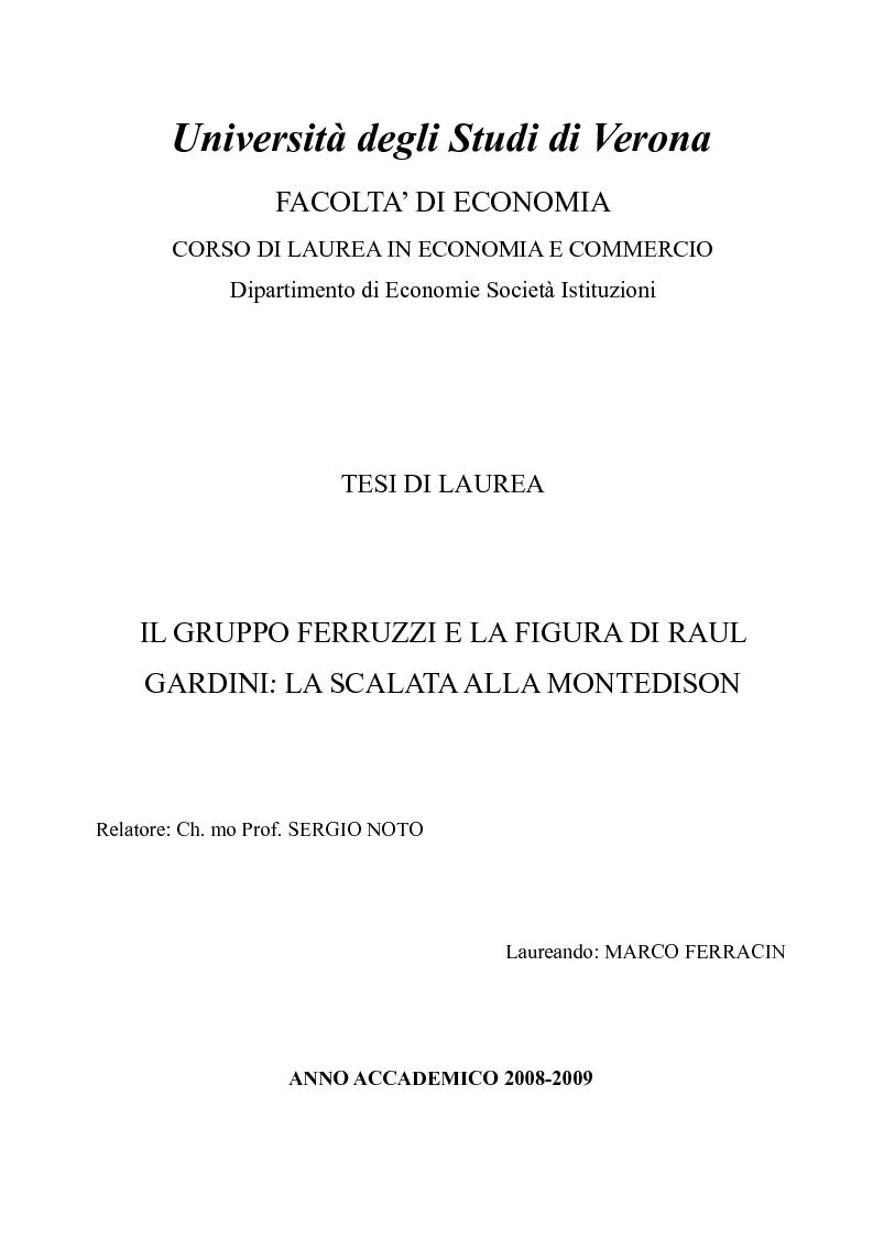 Anteprima della tesi: Il gruppo Ferruzzi e la figura di Raul Gardinii: la scalata alla Montedison, Pagina 1