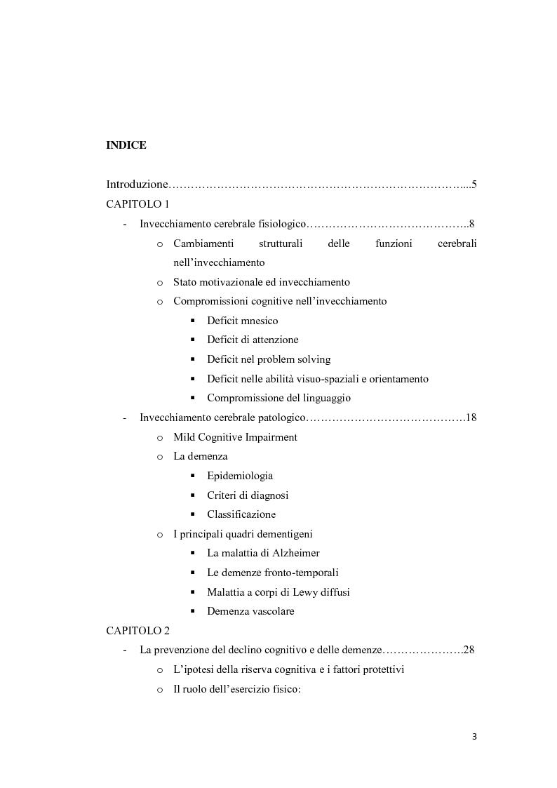 Indice della tesi: L'invecchiamento cognitivo e l'esercizio fisico, Pagina 1