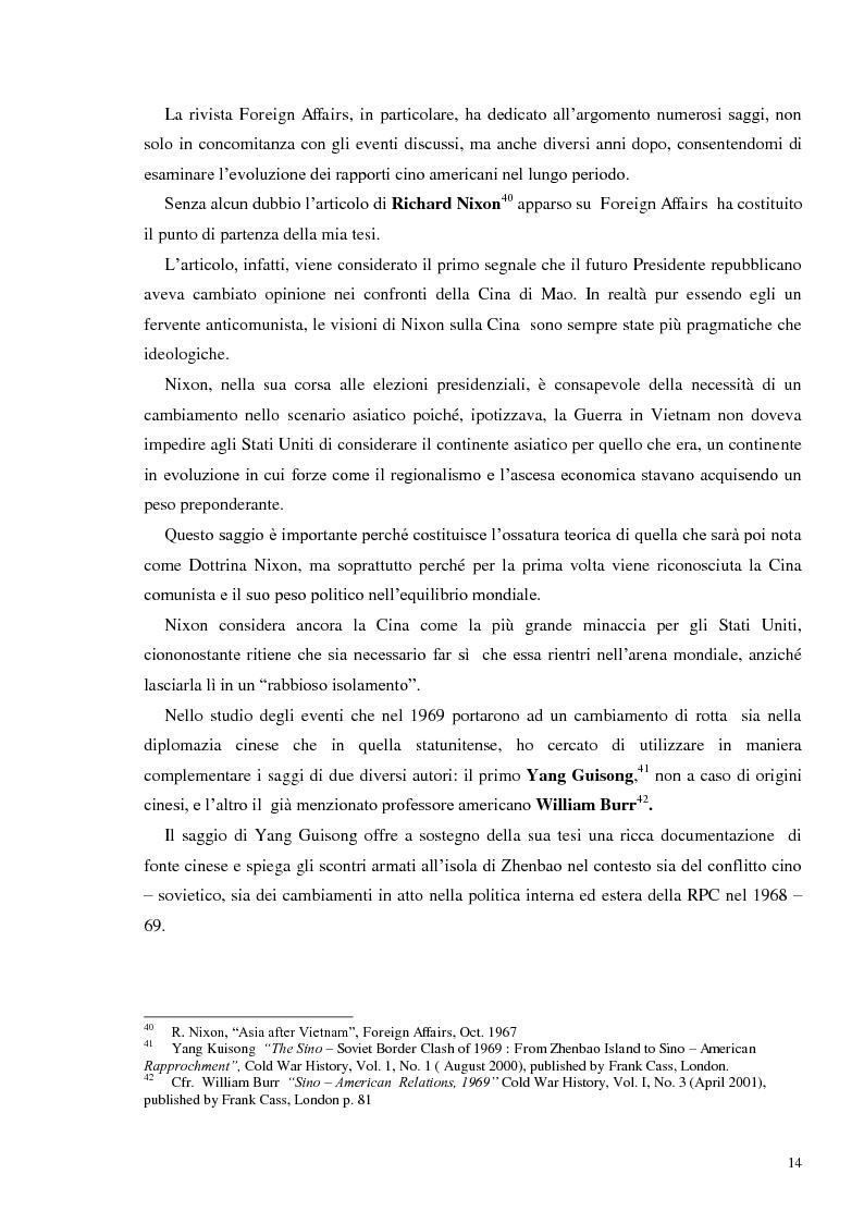 Estratto dalla tesi: Stati Uniti e Cina Popolare: nascita di un'intesa 1969 – 1972