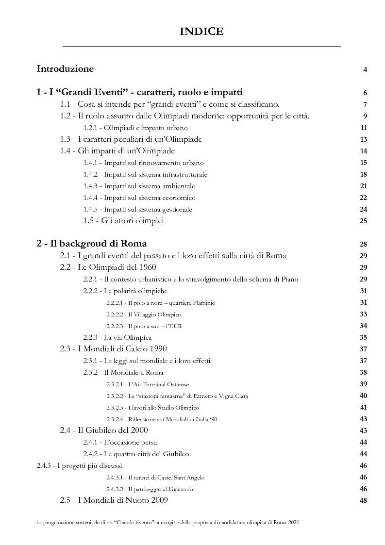 Indice della tesi: La progettazione sostenibile di un grande evento: a margine della proposta di candidatura olimpica di Roma 2020, Pagina 1