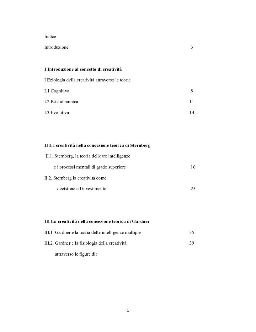 Indice della tesi: La creatività come forma d'intelligenza. Le concezioni teoriche di Robert J. Sternberg e di Howard Gardner, Pagina 1