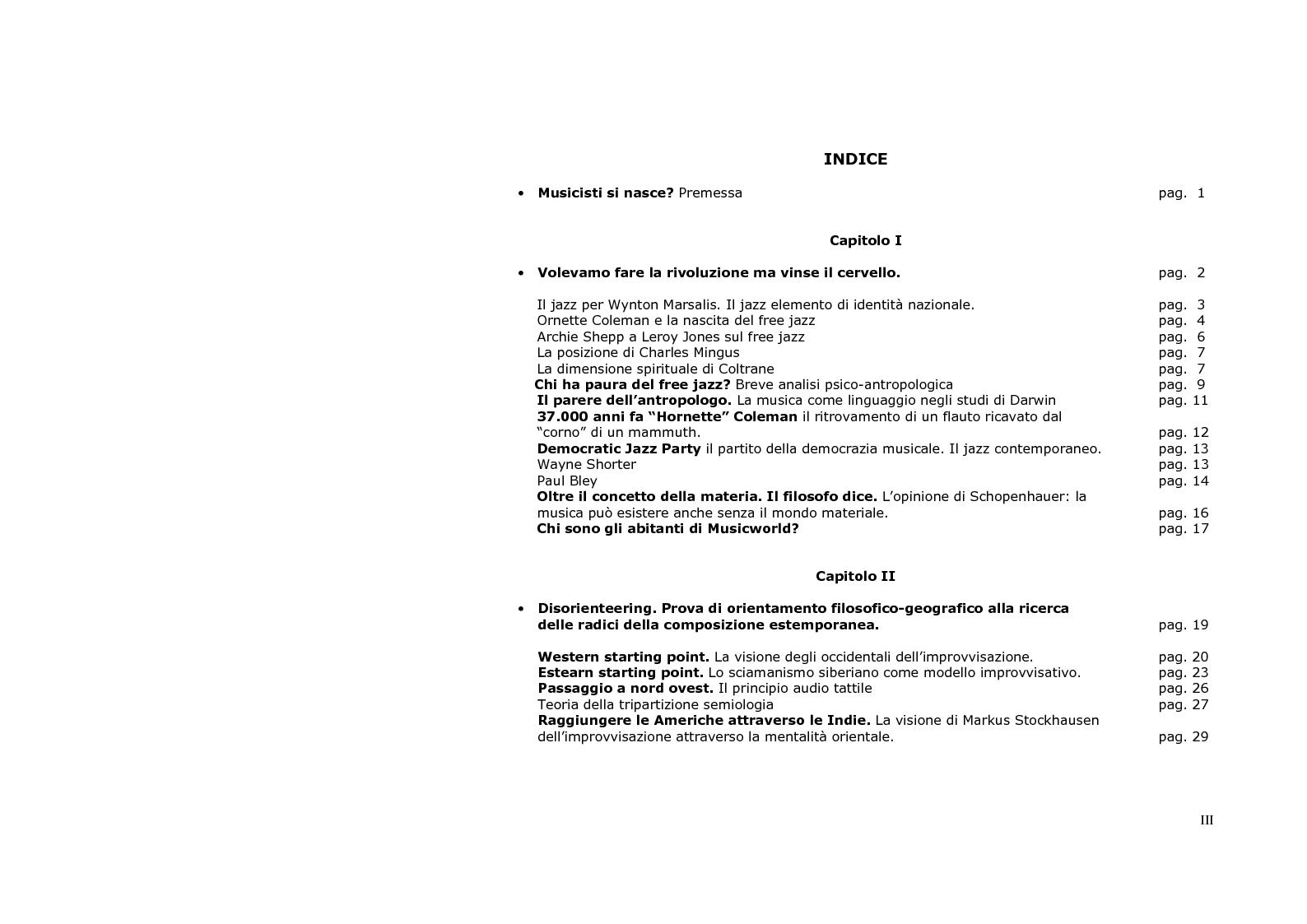 Indice della tesi: Neurologia e sociologia del jazz moderno, Pagina 1
