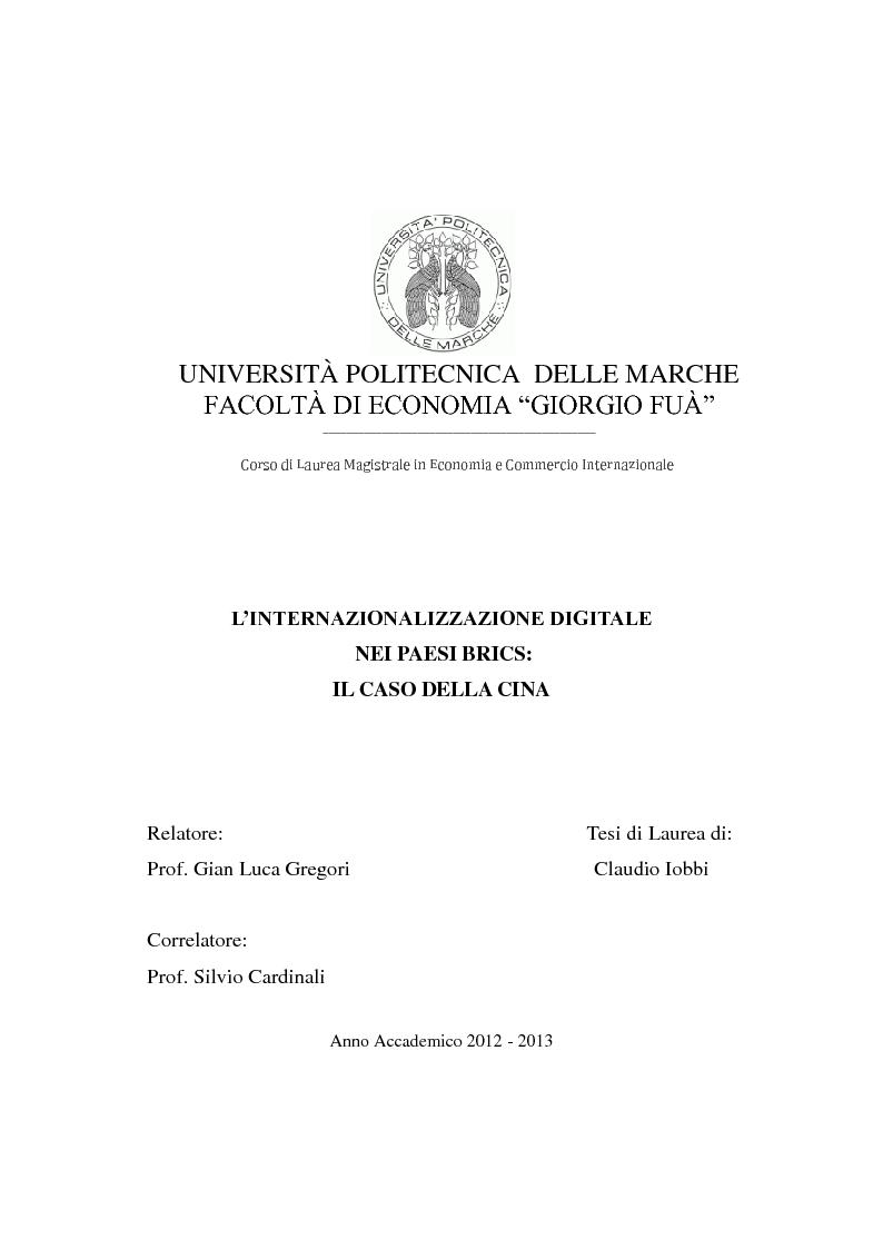 Anteprima della tesi: Internazionalizzazione digitale dei paesi BRICS: il caso della Cina, Pagina 1