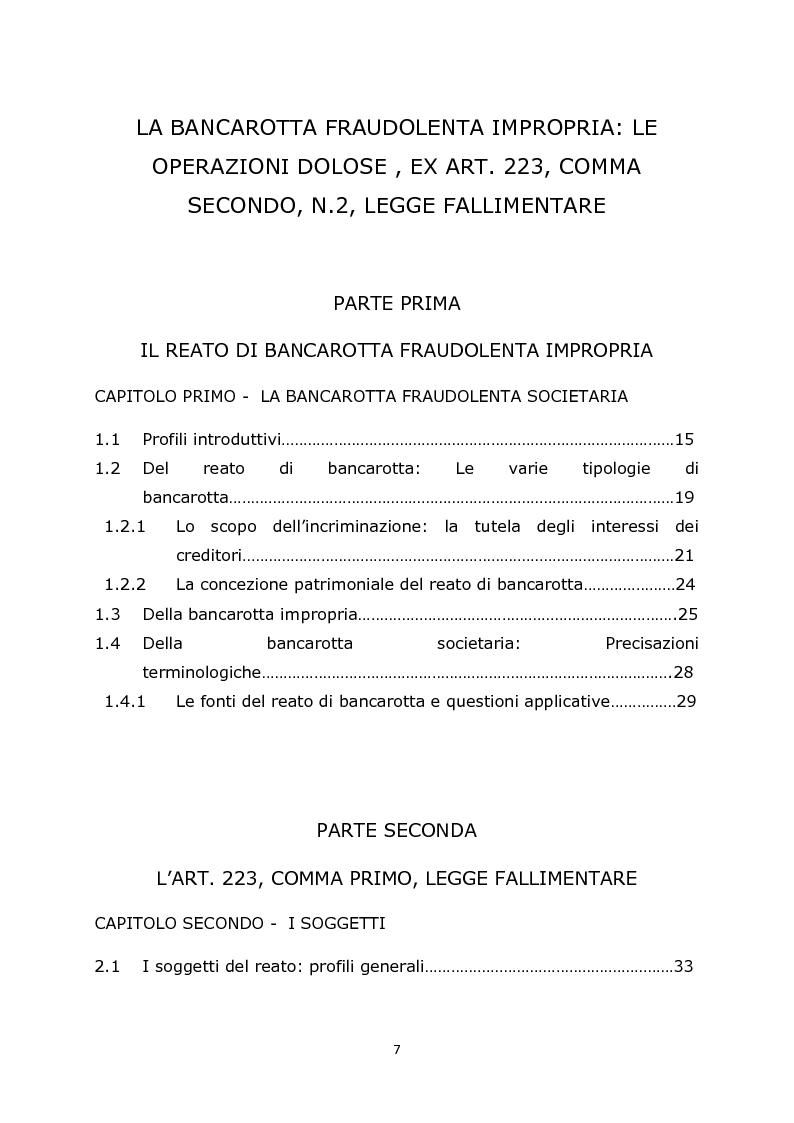 Indice della tesi: La bancarotta fraudolenta impropria: le operazioni dolose ex art. 223, comma secondo, n.2, legge fallimentare, Pagina 1