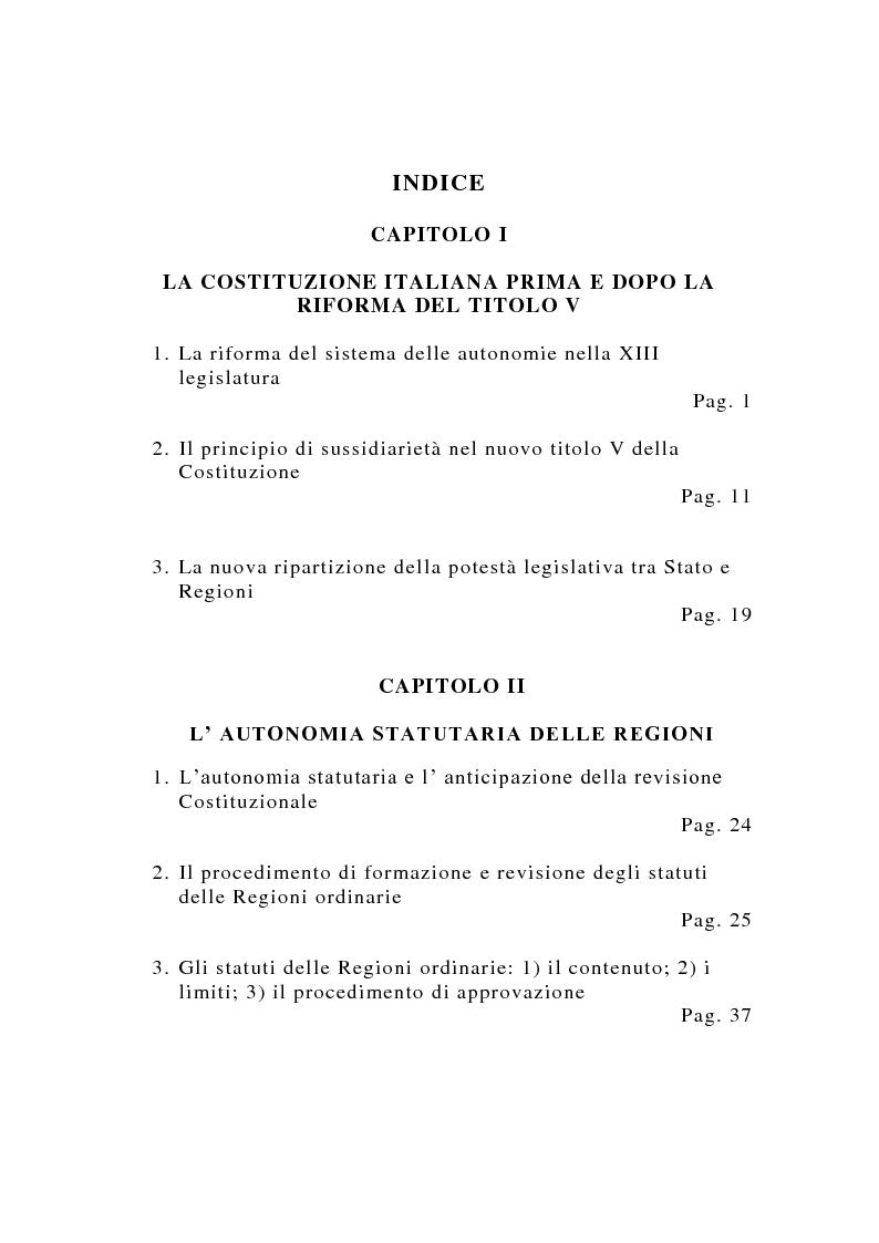Indice della tesi: La potestà statutaria delle Regioni dopo la riforma del Titolo V della Costituzione, Pagina 1