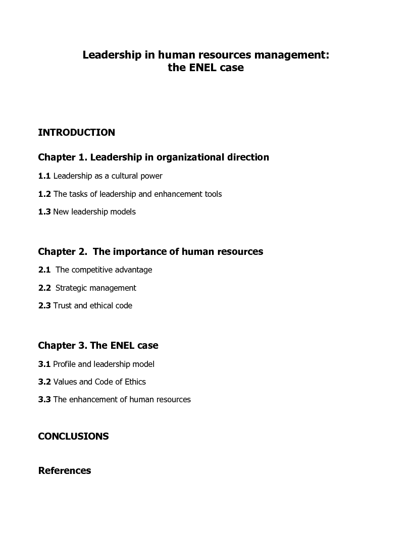 Indice della tesi: Leadership in human resources management: the ENEL case, Pagina 1