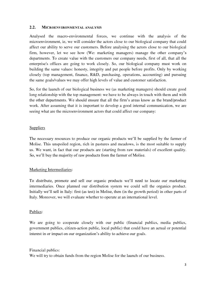 Estratto dalla tesi: Marketing plan: My Biological Business