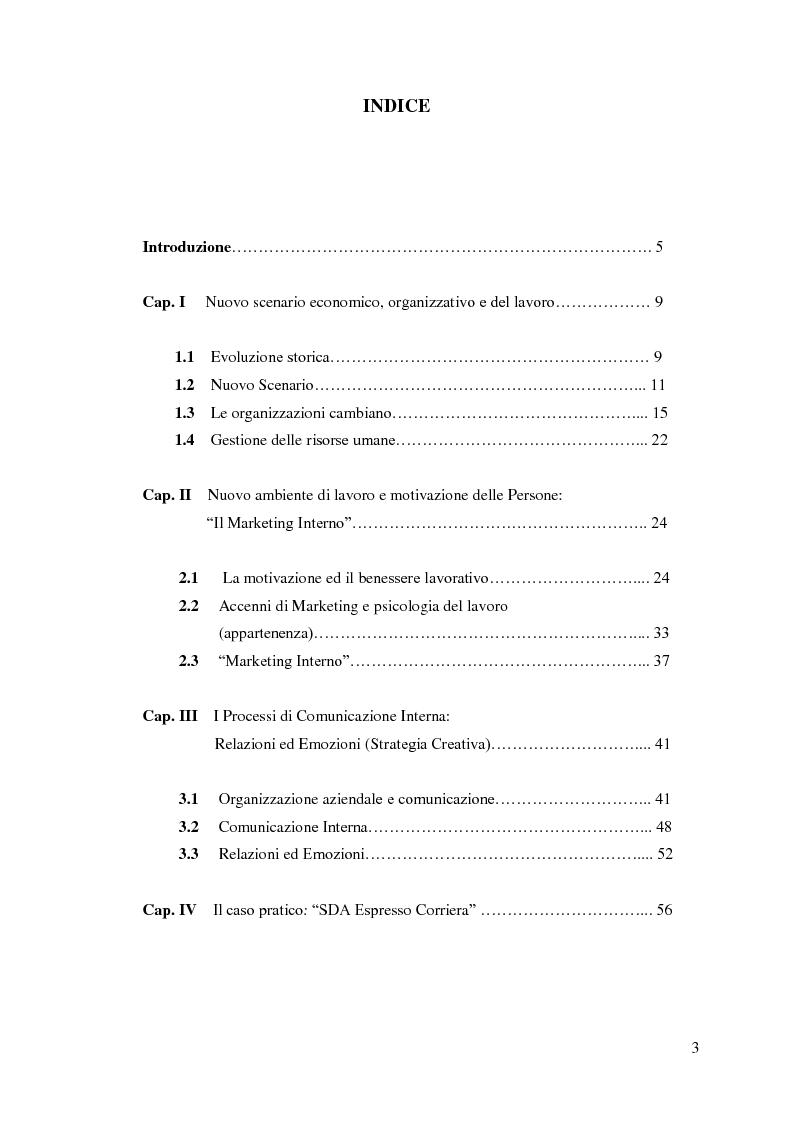 Indice della tesi: Le nuove organizzazioni aziendali e la motivazione delle persone attraverso il Marketing e la Comunicazione Interni, Pagina 1
