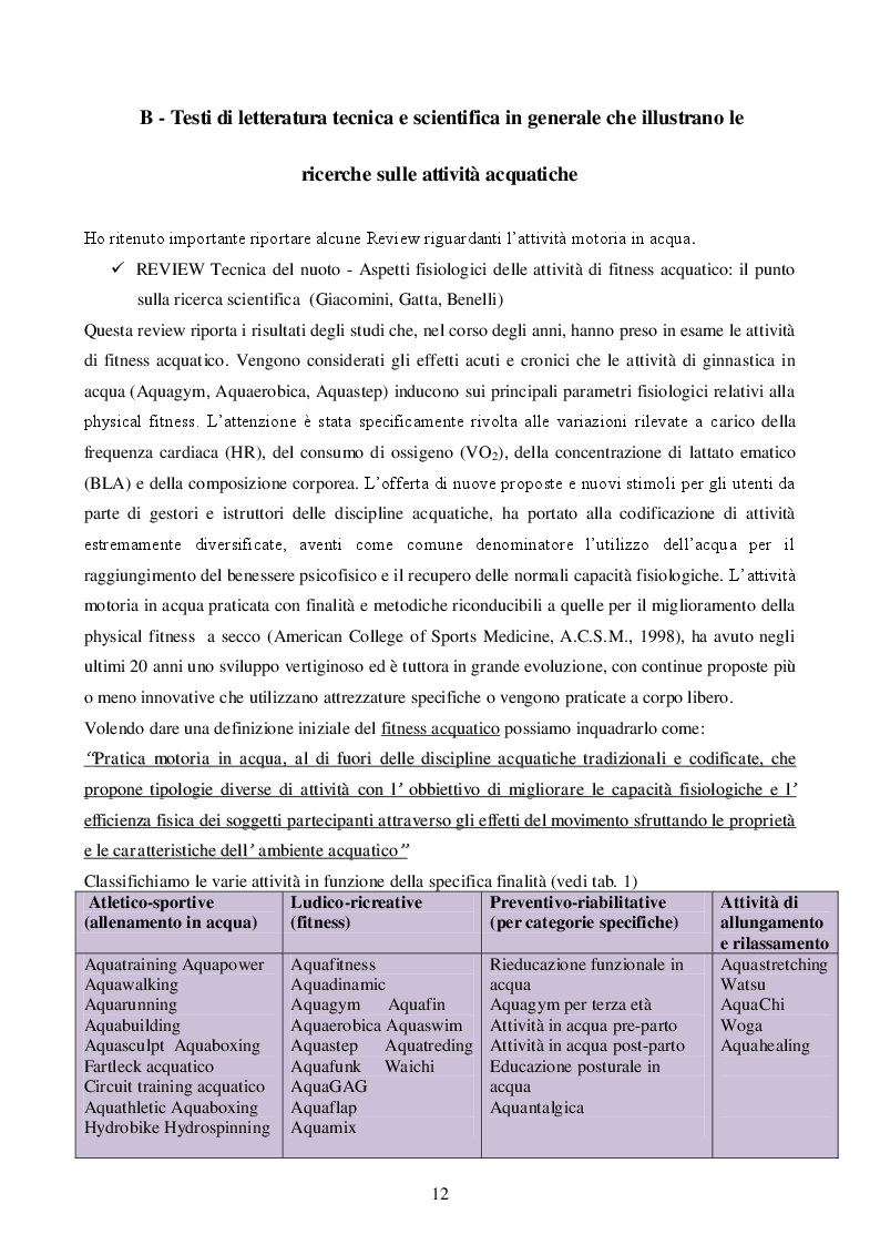 Estratto dalla tesi: Le motivazioni nella pratica delle attività fisiche acquatiche