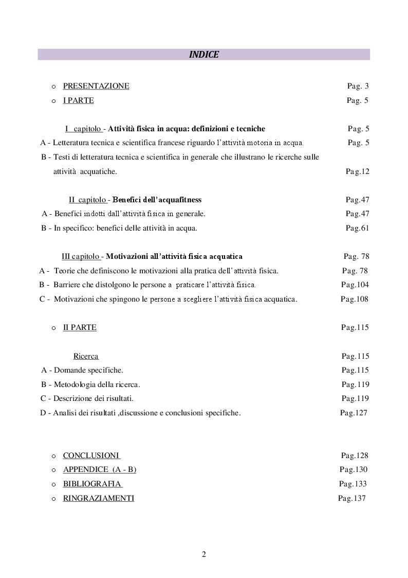 Indice della tesi: Le motivazioni nella pratica delle attività fisiche acquatiche, Pagina 1