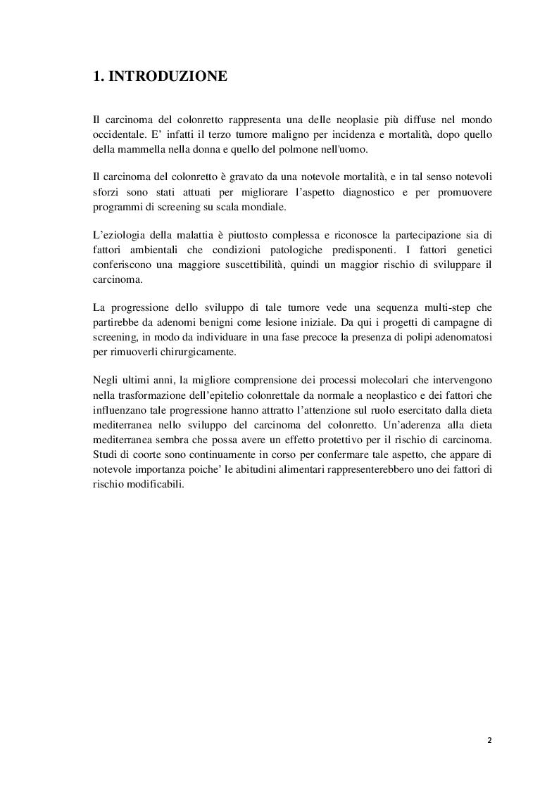 Profilo alimentare e metabolico di una coorte di pazienti con pregresso carcinoma del colon-retto in follow up - Tesi di...
