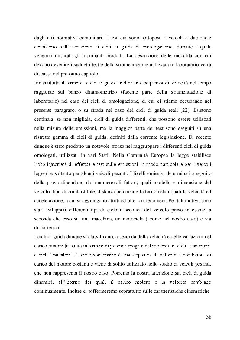 Estratto dalla tesi: Valutazione sperimentale delle emissioni e dei consumi di uno scooter Euro 3 in utilizzo reale