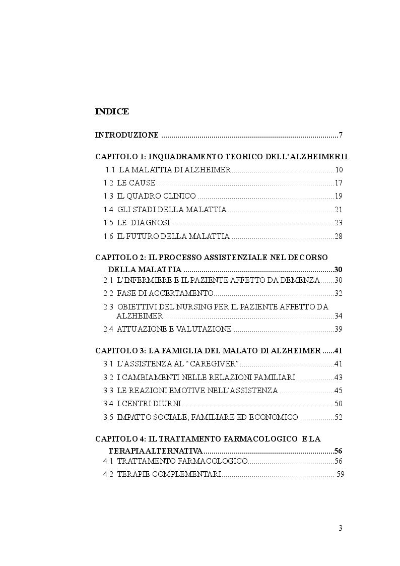 Indice della tesi: Il puzzle assistenziale dinamico: assistenza infermieristica al malato di Alzheimer, Pagina 1