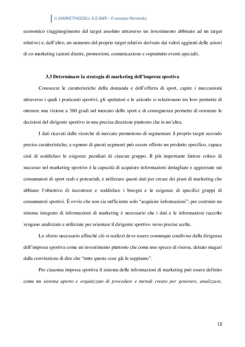 Estratto dalla tesi: L'A.S. BARI: nuove iniziative di marketing per tifosi e aziende partner