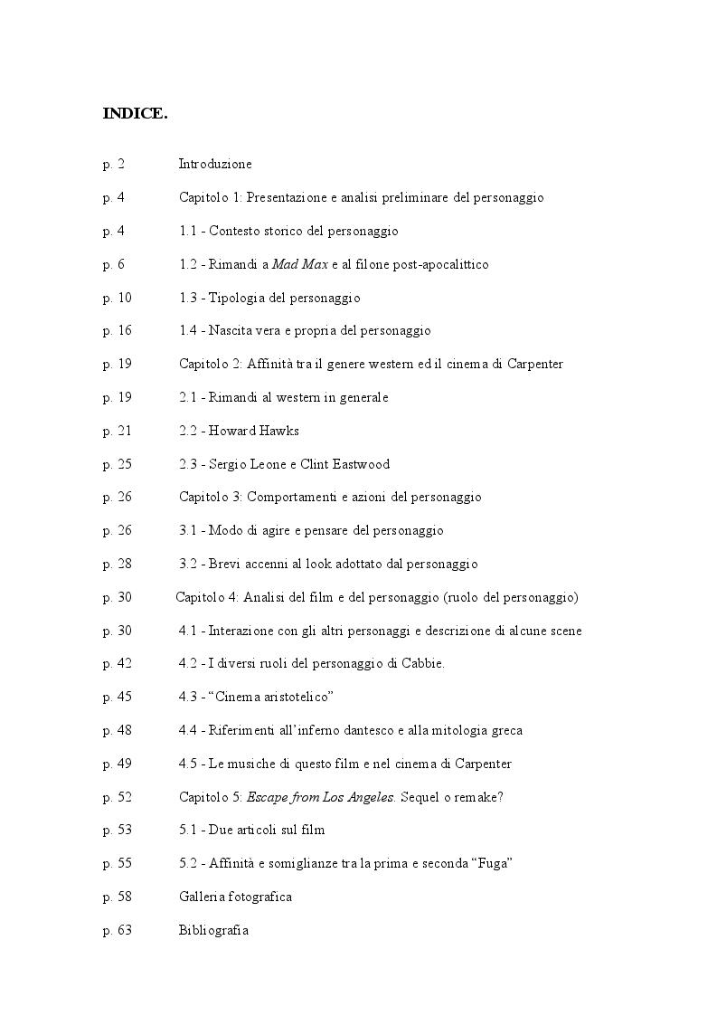 Indice della tesi: Snake Plissken - il Prototipo dell'antieroe, Pagina 1