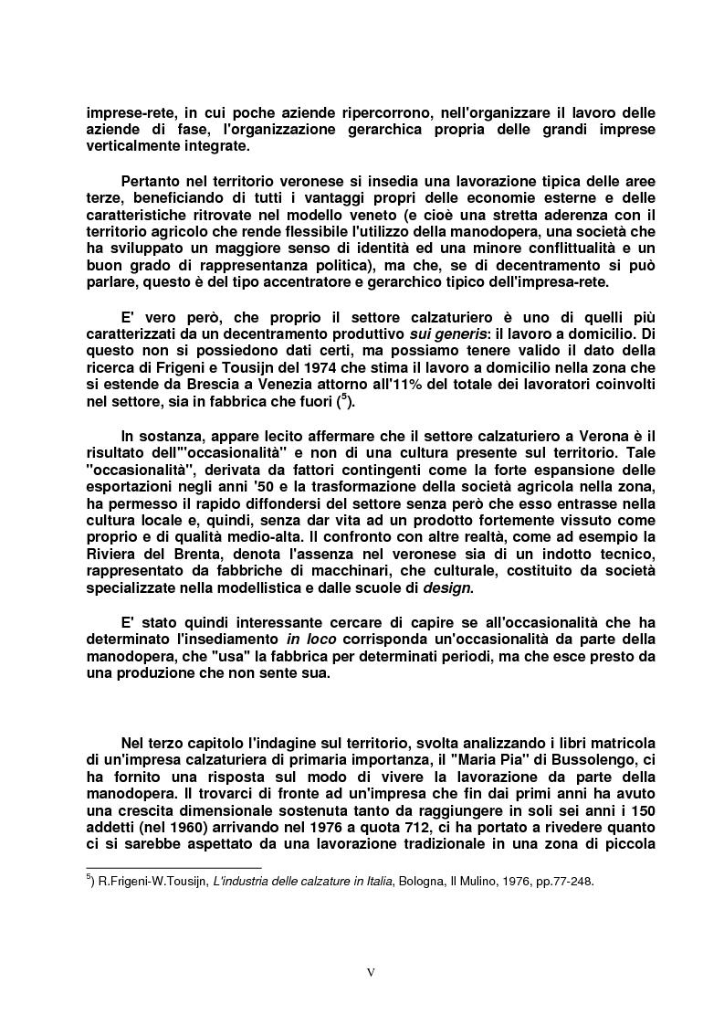 Anteprima della tesi: Modello veneto e Terza Italia: un caso di insediamento calzaturiero nel territorio veronese (1954-1985), Pagina 5