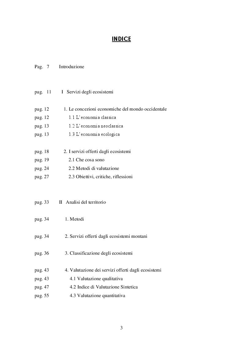 Indice della tesi: Servizi degli ecosistemi. Analisi e valutazione nelle Alpi lombarde, Pagina 1