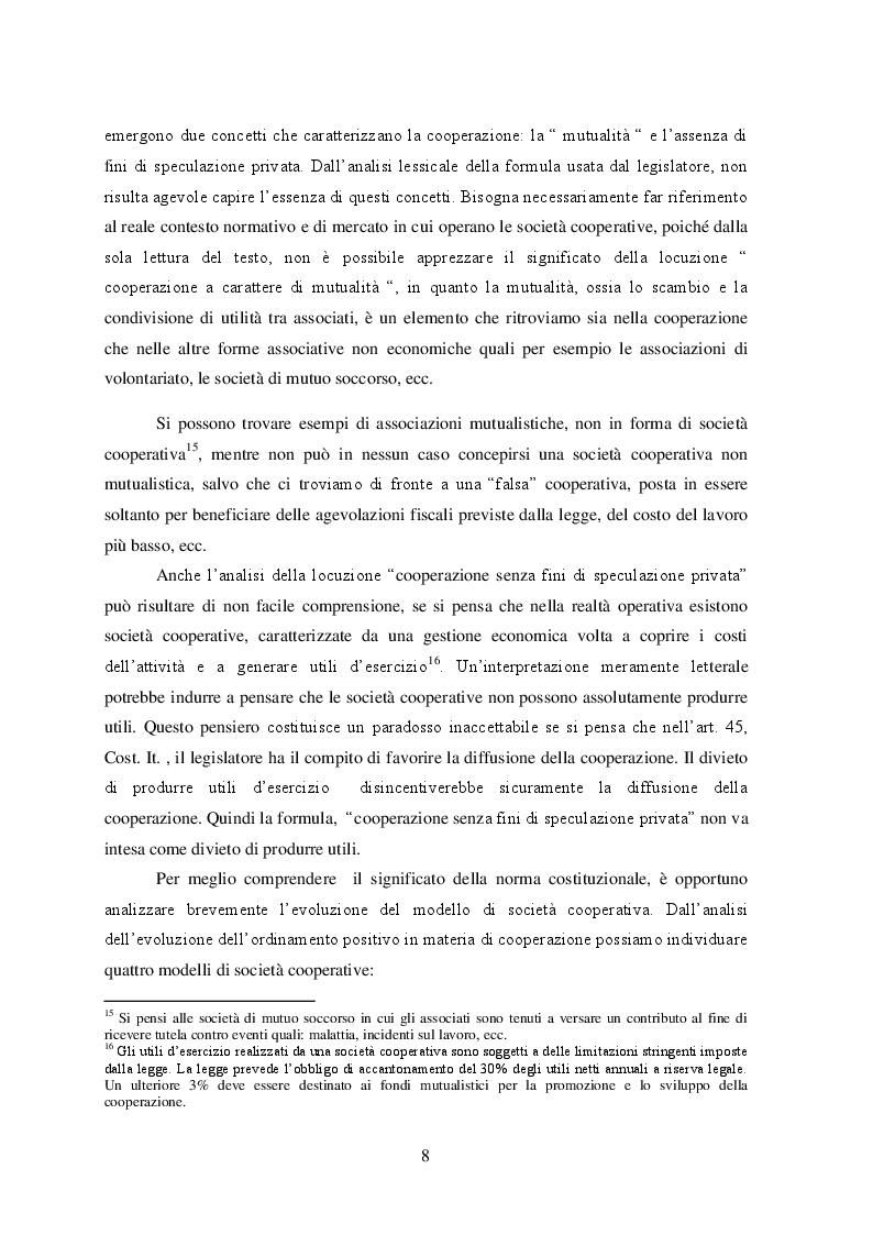 Estratto dalla tesi: Il principio di mutualità prevalente nelle cooperative e la normativa delle agevolazioni fiscali