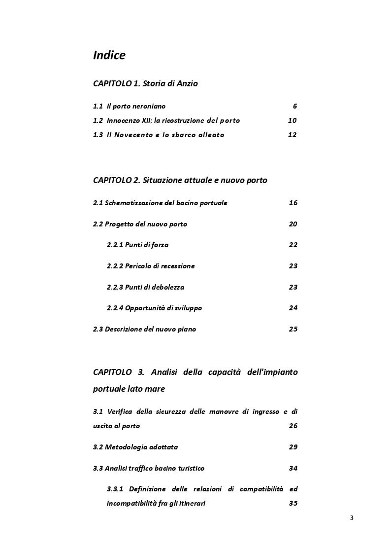 Indice della tesi: Capacità operativa e accessibilità del nuovo porto di Anzio, Pagina 1