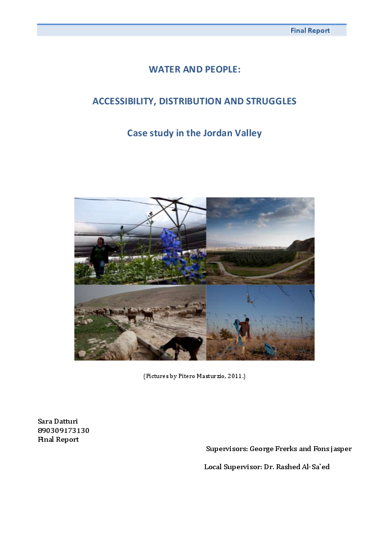 Preview of the thesis: Water and People: Accessibility, Distribution and Struggles - Case study in the Jordan Valley, Page 1