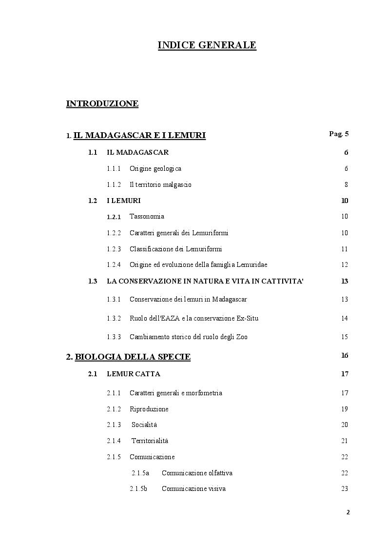 Indice della tesi: L'effetto dei visitatori sul comportamento di Lemur catta in un'area 'walk-through', Pagina 1
