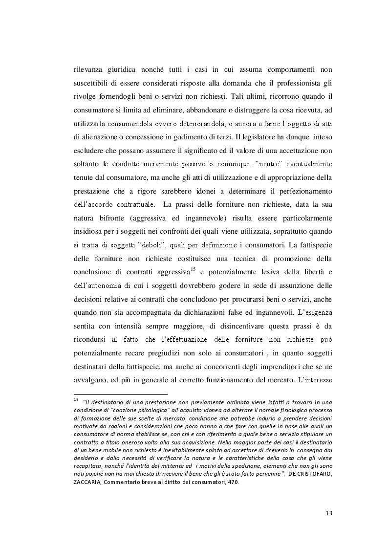 Estratto dalla tesi: Le forniture non richieste e la tutela del consumatore