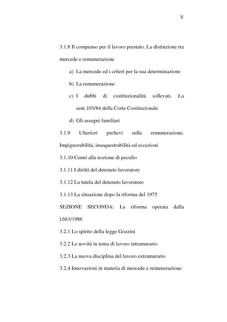 Indice della tesi: Il lavoro carcerario. Origine ed evoluzione normativa. L'esperienza del carcere di Pisa, Pagina 5