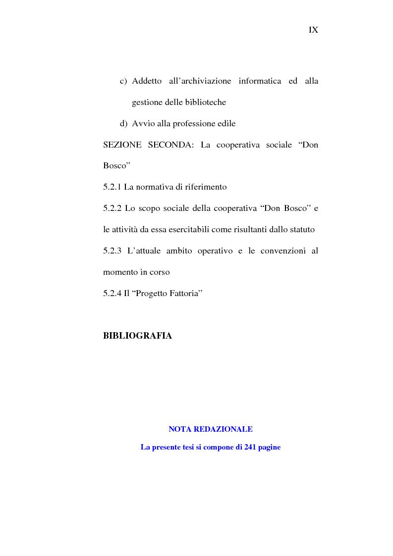 Indice della tesi: Il lavoro carcerario. Origine ed evoluzione normativa. L'esperienza del carcere di Pisa, Pagina 9