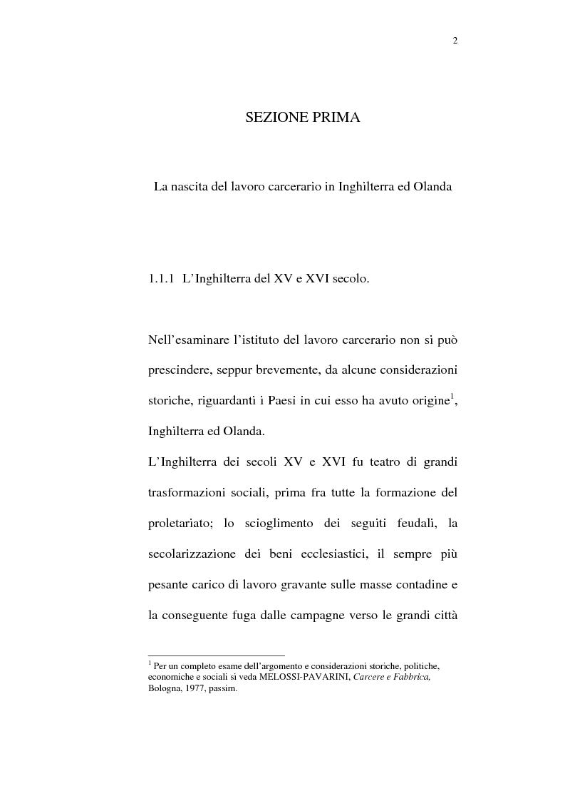 Anteprima della tesi: Il lavoro carcerario. Origine ed evoluzione normativa. L'esperienza del carcere di Pisa, Pagina 1