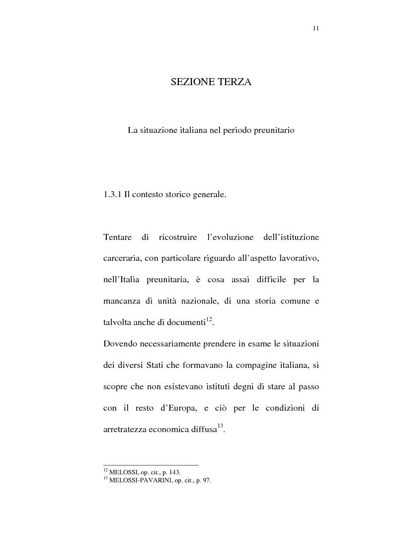 Anteprima della tesi: Il lavoro carcerario. Origine ed evoluzione normativa. L'esperienza del carcere di Pisa, Pagina 10