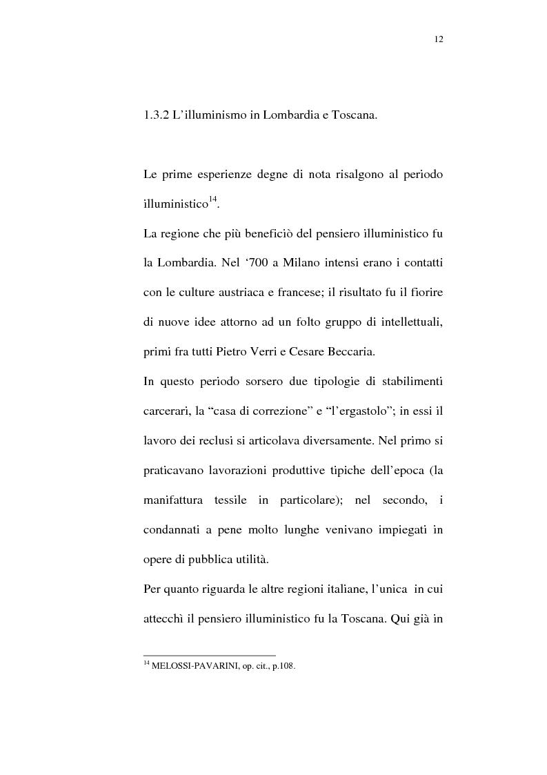 Anteprima della tesi: Il lavoro carcerario. Origine ed evoluzione normativa. L'esperienza del carcere di Pisa, Pagina 11