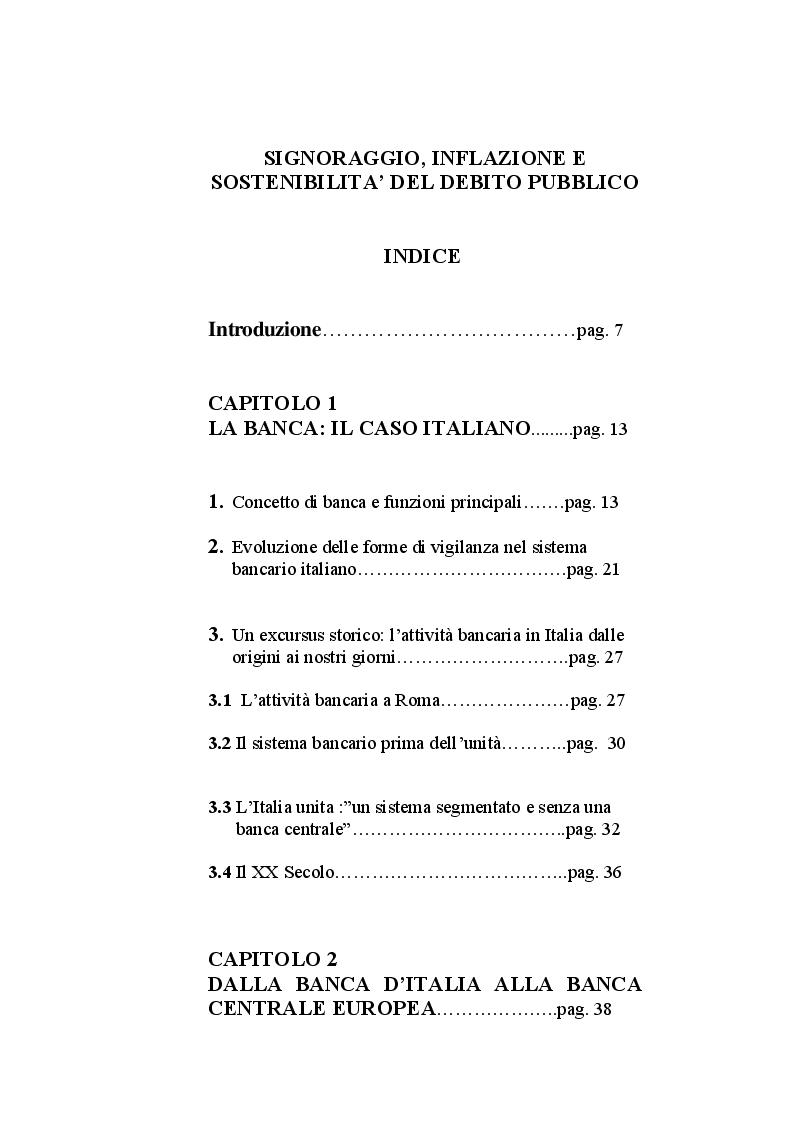 Indice della tesi: Signoraggio, inflazione e sostenibilità del debito pubblico, Pagina 1