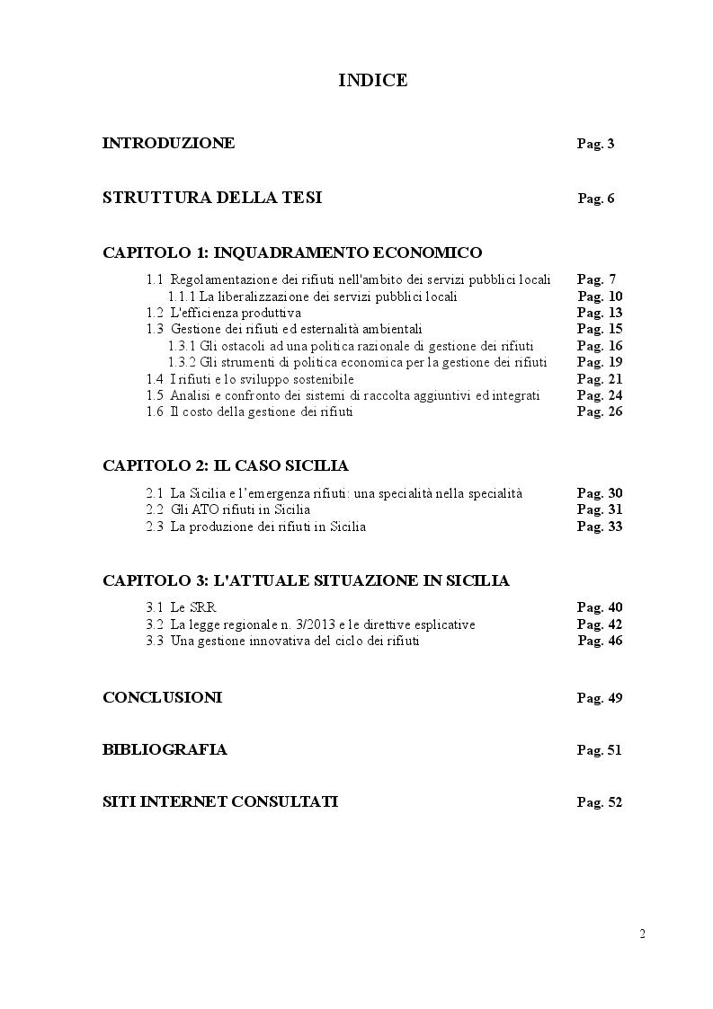 Indice della tesi: La gestione dei rifiuti: il caso siciliano, Pagina 1