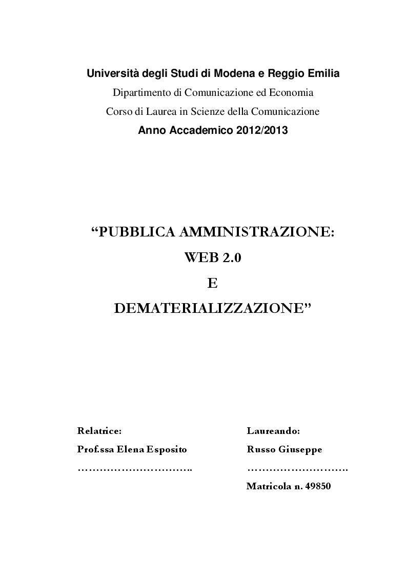 Anteprima della tesi: Pubblica Amministrazione: Web 2.0  e Dematerializzazione, Pagina 1