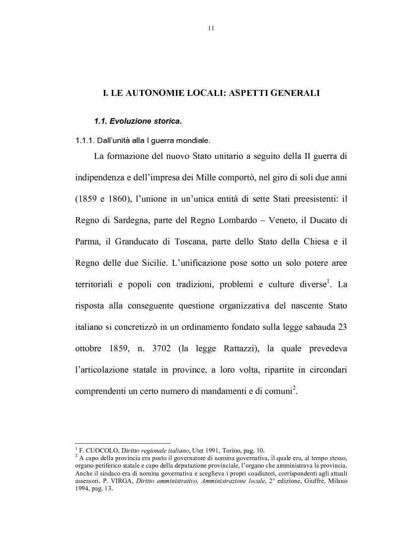 Anteprima della tesi: La riforma delle autonomie locali, Pagina 5