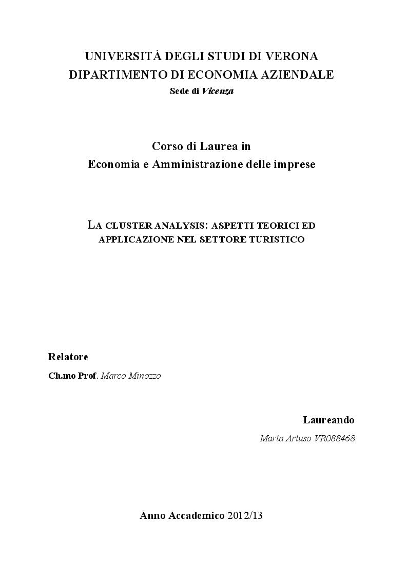 Anteprima della tesi: La cluster analysis: aspetti teorici ed applicazione nel settore turistico, Pagina 1