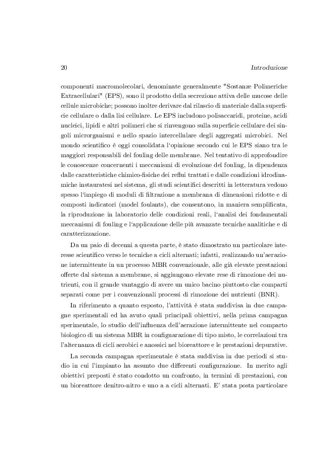 Estratto dalla tesi: Analisi di un impianto MBR a cicli alternati anossico/aerobico