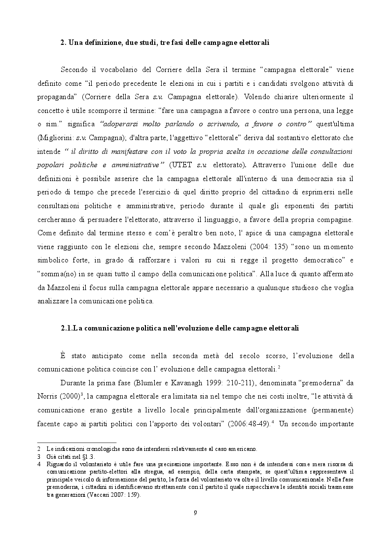 Estratto dalla tesi: The Permanent Campaign: un'analisi comparativa italiana-americana