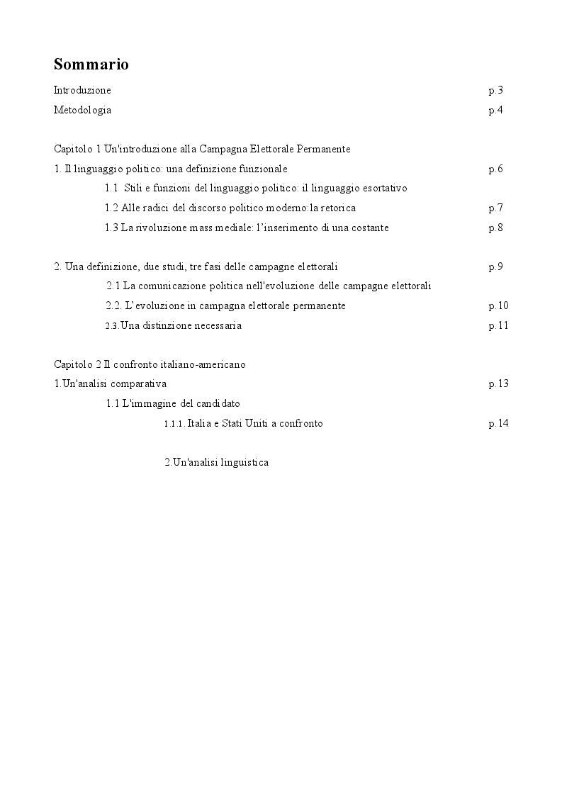 Indice della tesi: The Permanent Campaign: un'analisi comparativa italiana-americana, Pagina 1