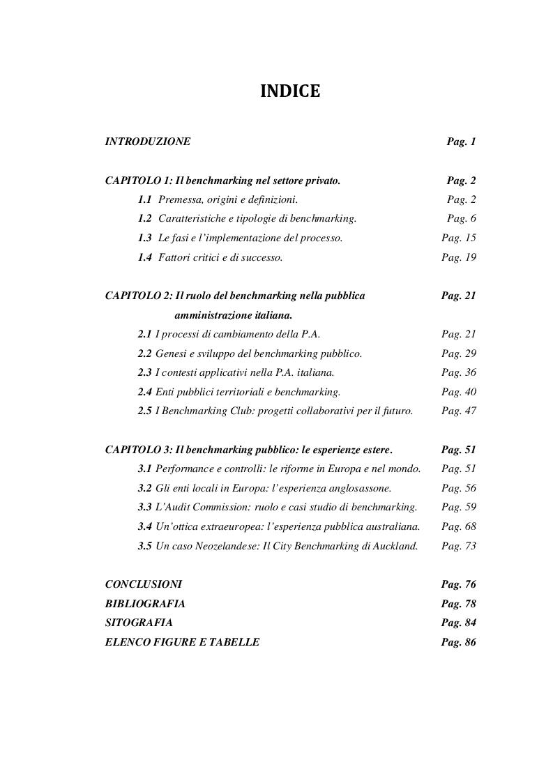 Indice della tesi: Il benchmarking negli enti pubblici territoriali: le esperienze internazionali, Pagina 1