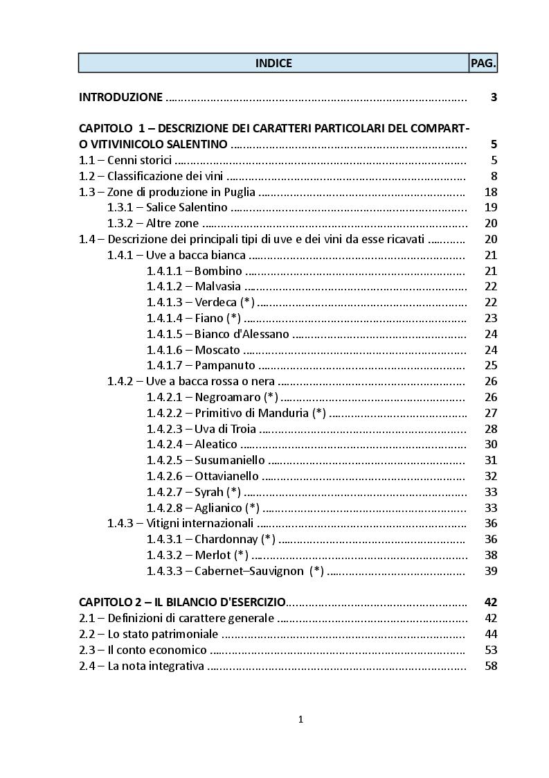 Indice della tesi: Analisi economico-finanziaria di un'azienda operante nel settore vinicolo: la società ''Azienda Vinicola Cantele s.r.l.'', Pagina 1