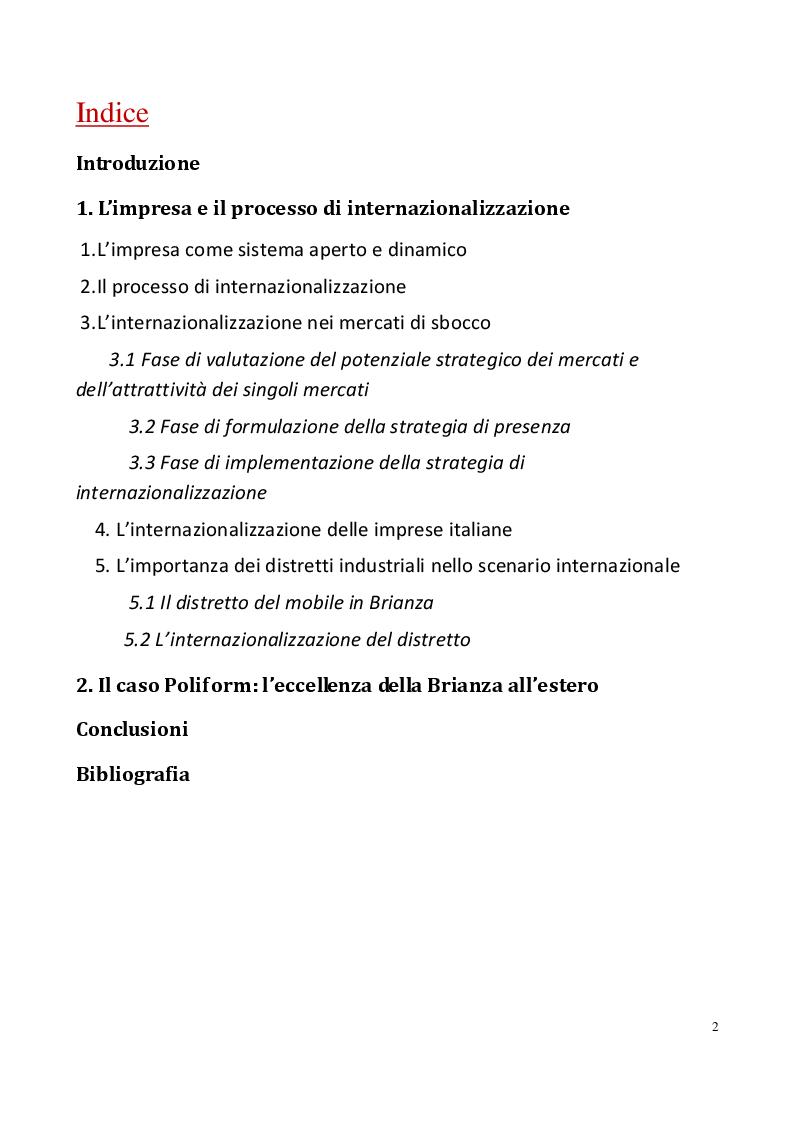 Indice della tesi: L'internazionalizzazione nel distretto industriale della Brianza. Il caso Poliform, Pagina 1