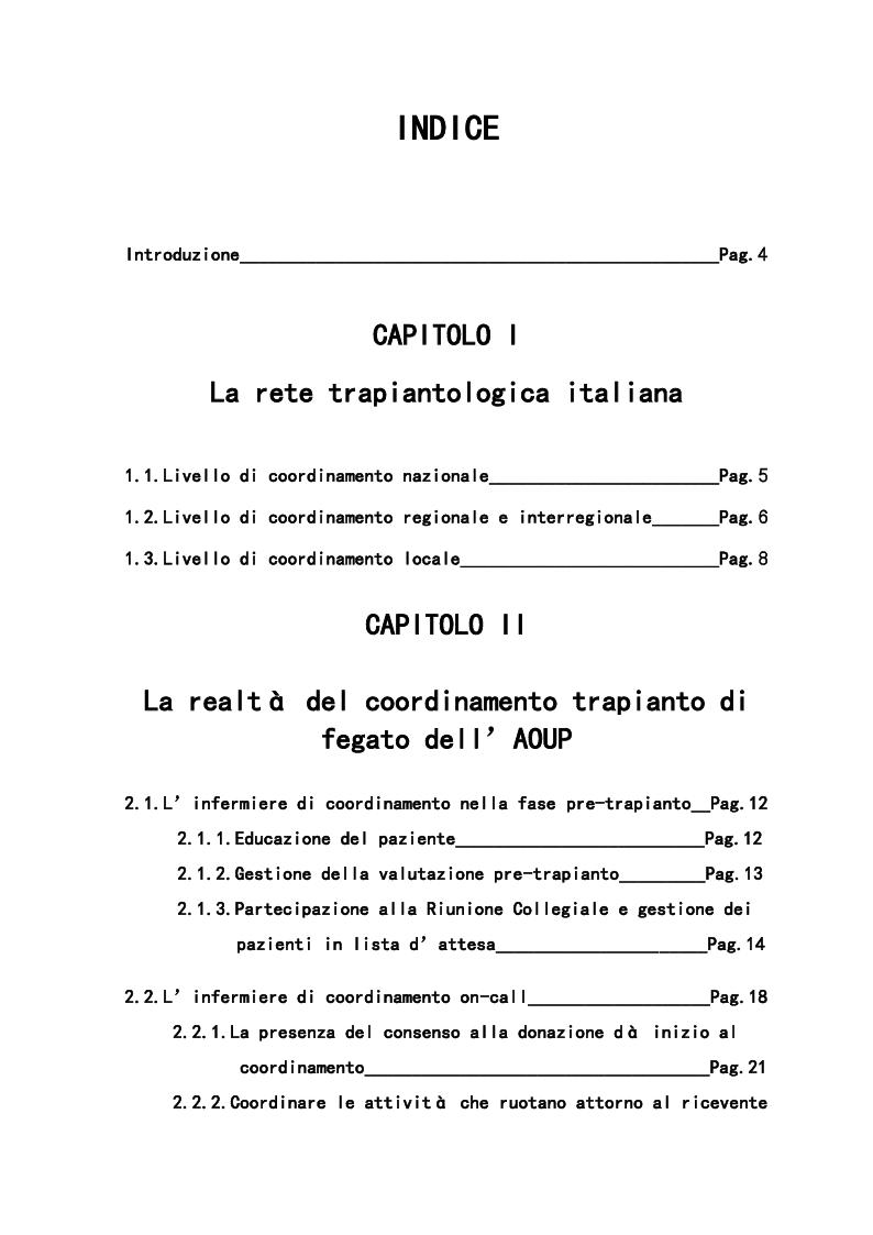 Indice della tesi: Il ruolo dell'infermiere nell'ambito di un coordinamento trapianti, Pagina 1